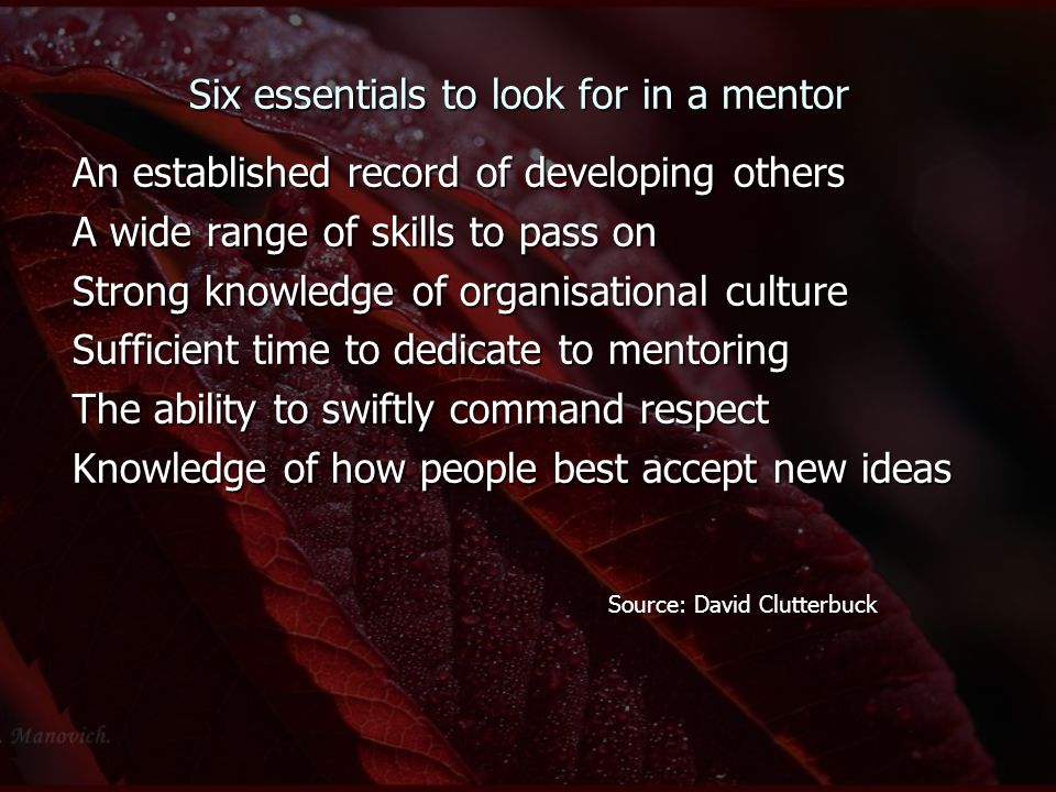 Six essentials to look for in a mentor An established record of developing others A wide range of skills to pass on Strong knowledge of organisational culture Sufficient time to dedicate to mentoring The ability to swiftly command respect Knowledge of how people best accept new ideas Source: David Clutterbuck Source: David Clutterbuck