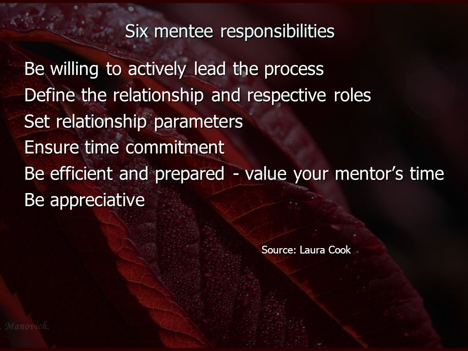 Six mentee responsibilities Be willing to actively lead the process Define the relationship and respective roles Set relationship parameters Ensure time commitment Be efficient and prepared - value your mentor's time Be appreciative Source: Laura Cook Source: Laura Cook