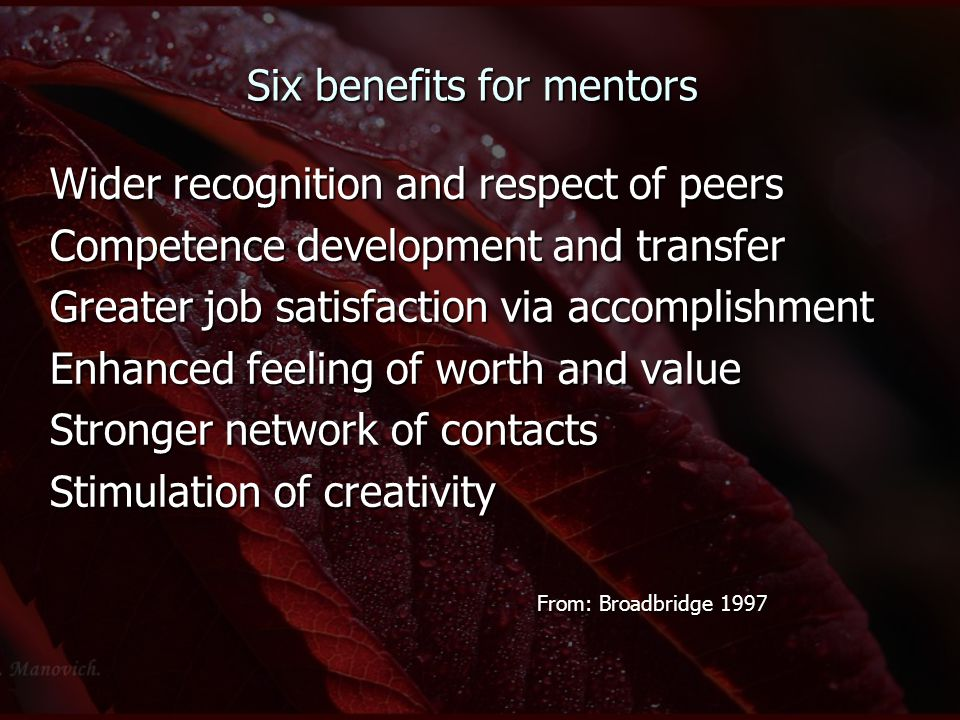 Six benefits for mentors Wider recognition and respect of peers Competence development and transfer Greater job satisfaction via accomplishment Enhanc
