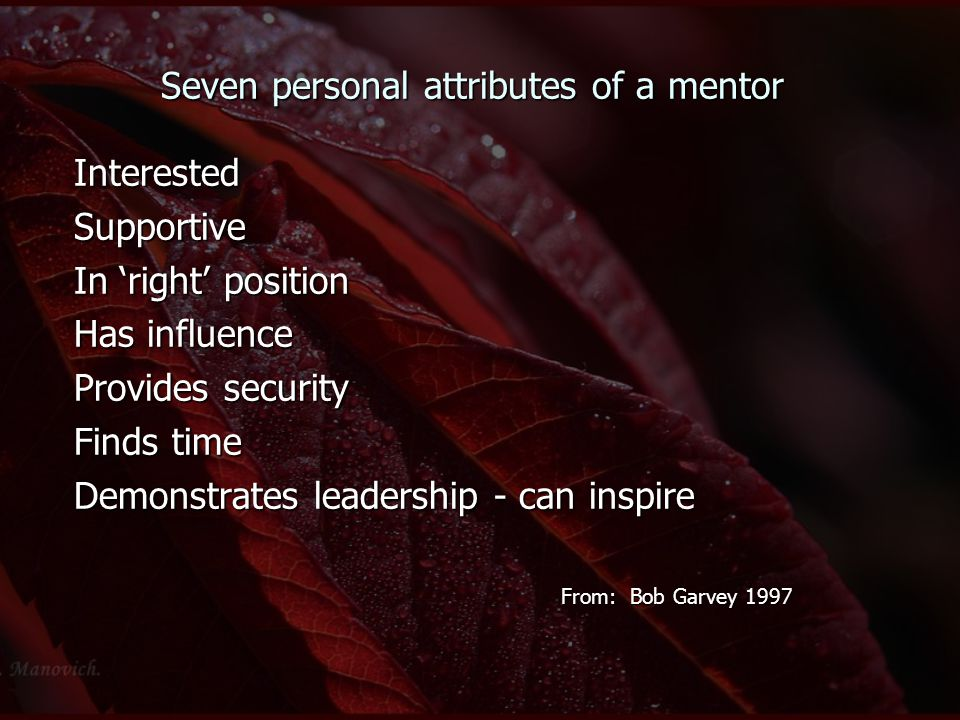 Seven personal attributes of a mentor InterestedSupportive In 'right' position Has influence Provides security Finds time Demonstrates leadership - ca