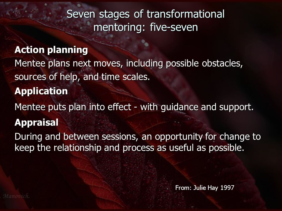 Seven stages of transformational mentoring: five-seven Action planning Mentee plans next moves, including possible obstacles, sources of help, and tim