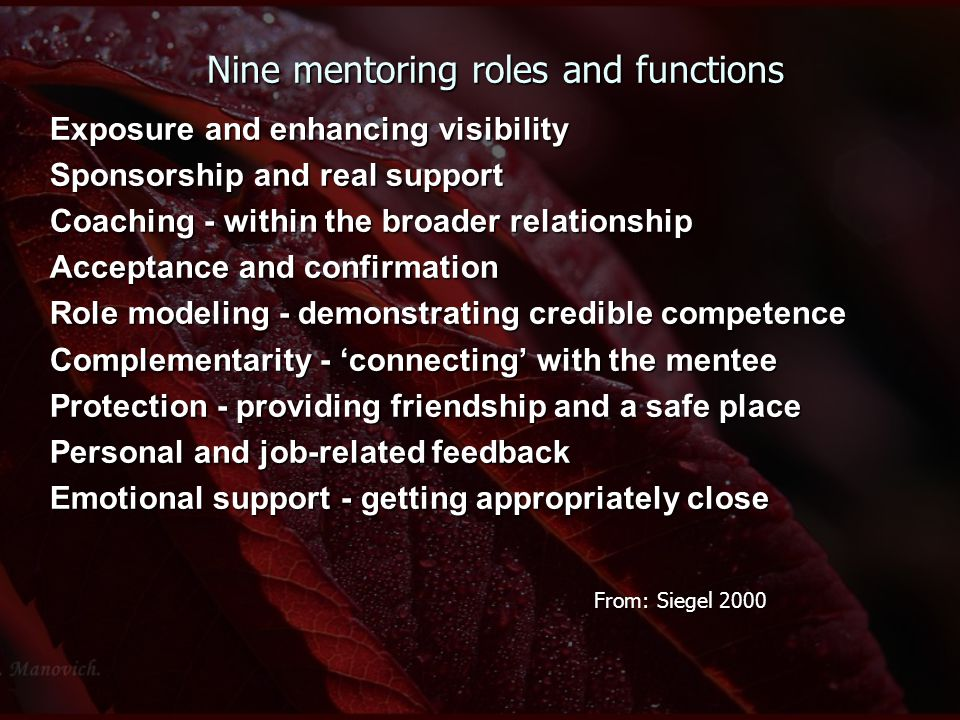 Nine mentoring roles and functions Exposure and enhancing visibility Sponsorship and real support Coaching - within the broader relationship Acceptanc