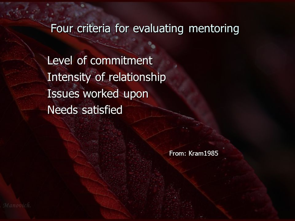 Four criteria for evaluating mentoring Level of commitment Intensity of relationship Issues worked upon Needs satisfied From: Kram1985 From: Kram1985