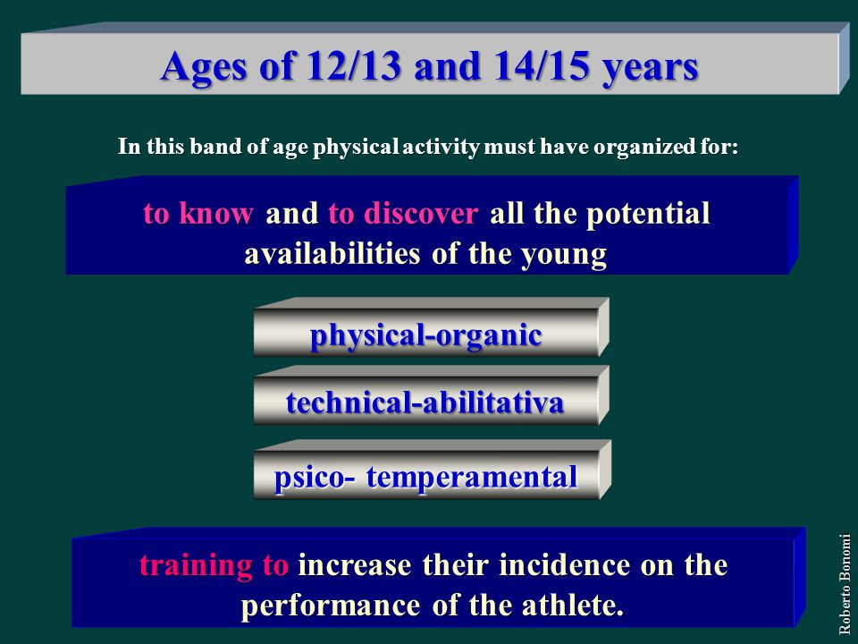 In this band of age physical activity must have organized for: to know and to discover all the potential availabilities of the young training to incre