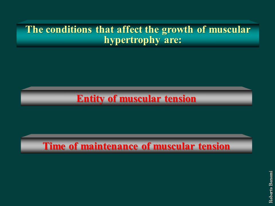 The conditions that affect the growth of muscular hypertrophy are: Time of maintenance of muscular tension Entity of muscular tension Roberto Bonomi