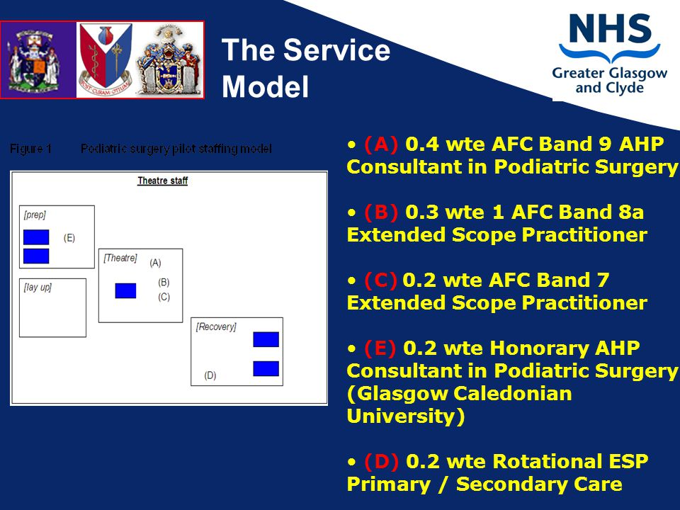 The Service Model (A) 0.4 wte AFC Band 9 AHP Consultant in Podiatric Surgery (B) 0.3 wte 1 AFC Band 8a Extended Scope Practitioner (C) 0.2 wte AFC Band 7 Extended Scope Practitioner (E) 0.2 wte Honorary AHP Consultant in Podiatric Surgery (Glasgow Caledonian University) (D) 0.2 wte Rotational ESP Primary / Secondary Care