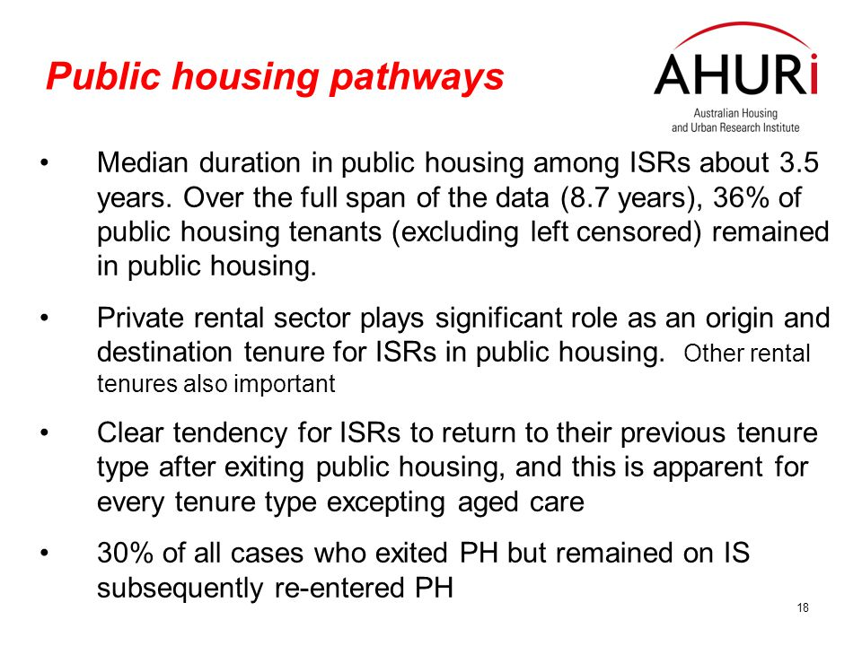 18 Public housing pathways Median duration in public housing among ISRs about 3.5 years.