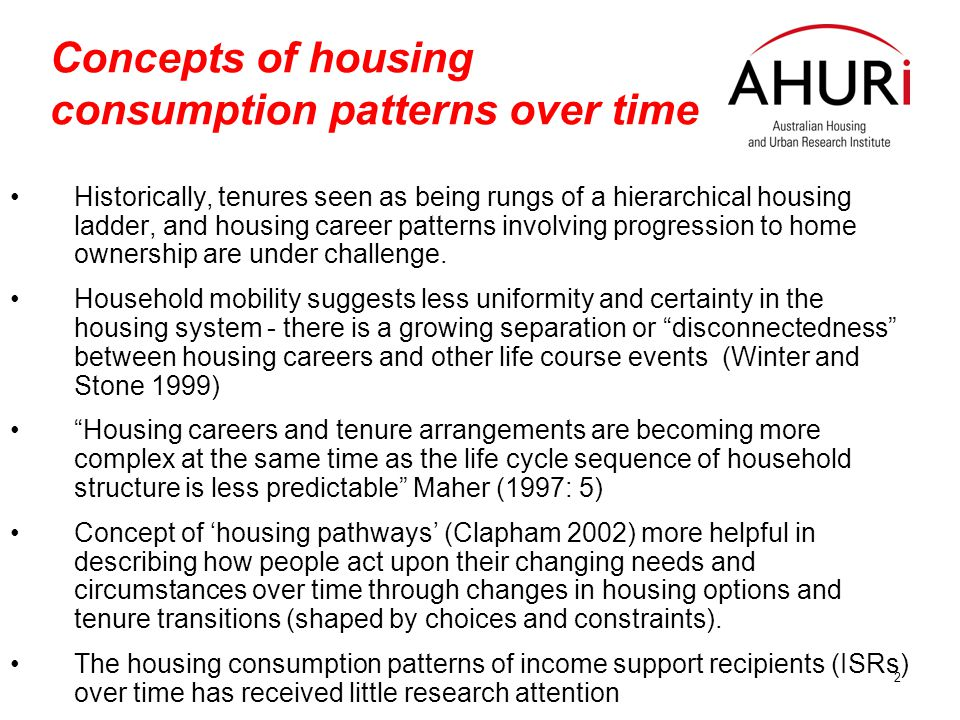 3 Background to the study Study for AHURI based on analysis of Australian Govt 'Longitudinal Data Set', one percent Sample (1995-2003) Study has examined income support recipients over time in relation to: –tenures and tenure changes –relationships between tenure changes and changes in income –tenure changes in and other changes in characteristics or circumstances –How the relationships and arrangements between tenure and other factors vary by discrete groups of income support recipients.