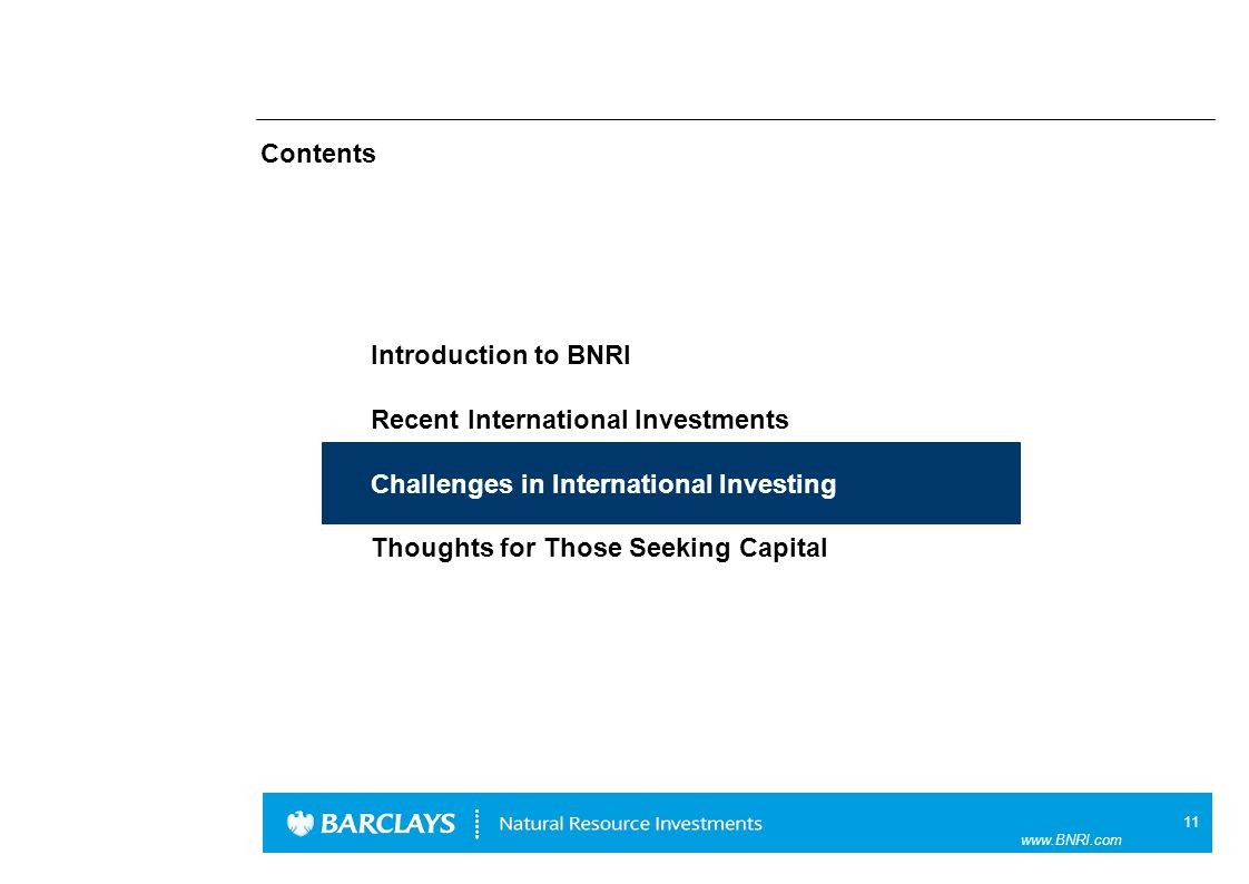 11 www.BNRI.com Contents Introduction to BNRI Recent International Investments Challenges in International Investing Thoughts for Those Seeking Capital