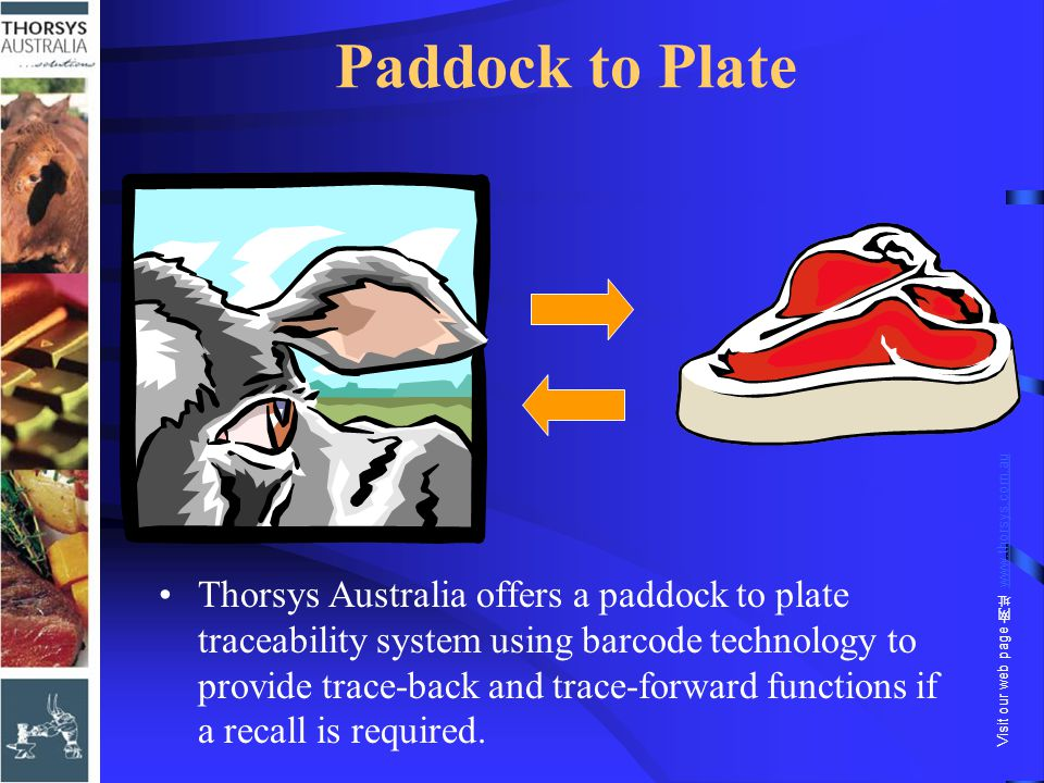 Paddock to Plate Thorsys Australia offers a paddock to plate traceability system using barcode technology to provide trace-back and trace-forward func