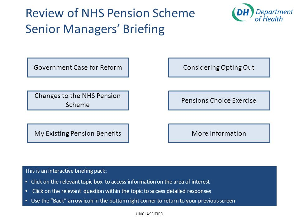Review of NHS Pension Scheme Senior Managers' Briefing Changes to the NHS Pension Scheme My Existing Pension Benefits Government Case for ReformConsidering Opting Out More Information Pensions Choice Exercise This is an interactive briefing pack: Click on the relevant topic box to access information on the area of interest Click on the relevant question within the topic to access detailed responses Use the Back arrow icon in the bottom right corner to return to your previous screen UNCLASSIFIED