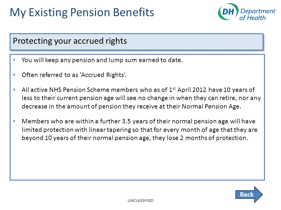 My Existing Pension Benefits Back You will keep any pension and lump sum earned to date.