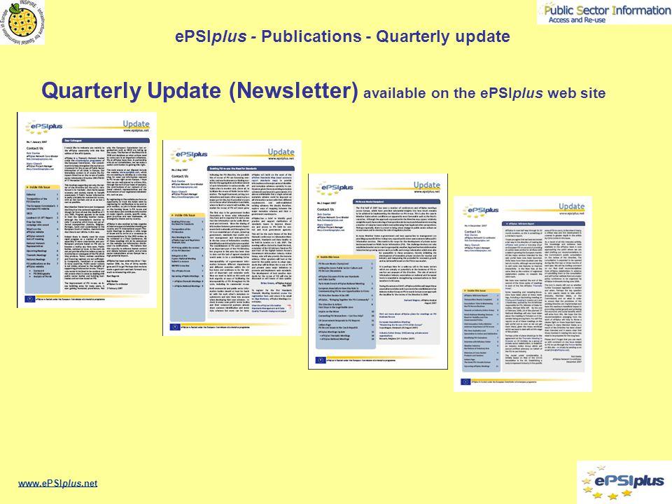 ePSIplus - Publications - Quarterly update Quarterly Update (Newsletter) available on the ePSIplus web site www.ePSIplus.net