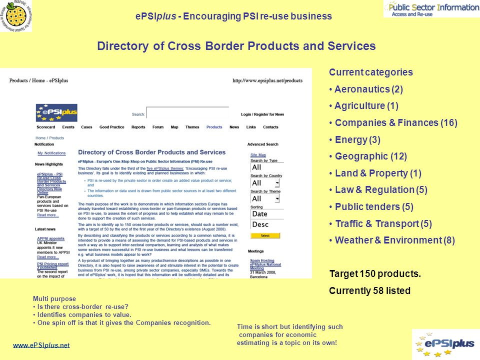 ePSIplus - Encouraging PSI re-use business www.ePSIplus.net Current categories Aeronautics (2) Agriculture (1) Companies & Finances (16) Energy (3) Geographic (12) Land & Property (1) Law & Regulation (5) Public tenders (5) Traffic & Transport (5) Weather & Environment (8) Target 150 products.