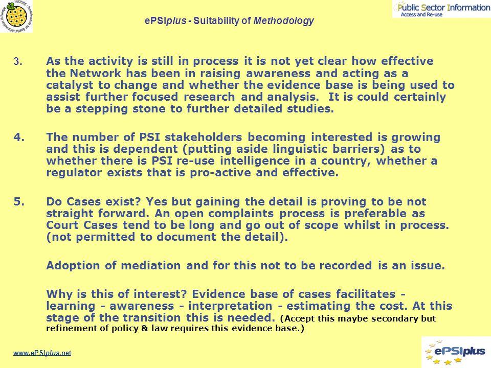 ePSIplus - Suitability of Methodology 3.
