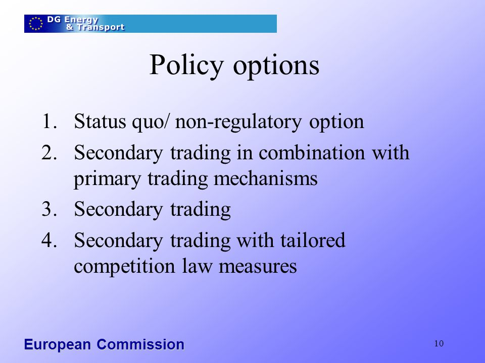 European Commission 10 Policy options 1.Status quo/ non-regulatory option 2.Secondary trading in combination with primary trading mechanisms 3.Secondary trading 4.Secondary trading with tailored competition law measures