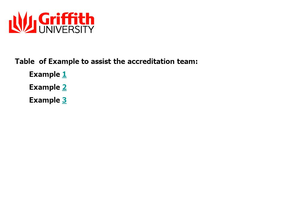 Table of Example to assist the accreditation team: Example 11 Example 22 Example 33
