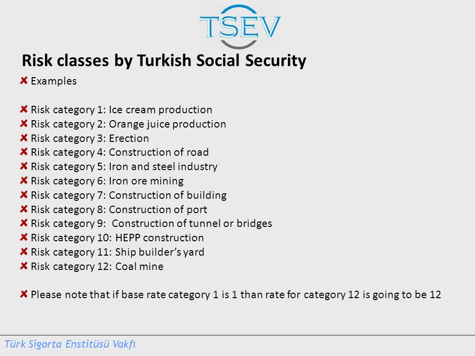 Risk classes by Turkish Social Security Examples Risk category 1: Ice cream production Risk category 2: Orange juice production Risk category 3: Erect