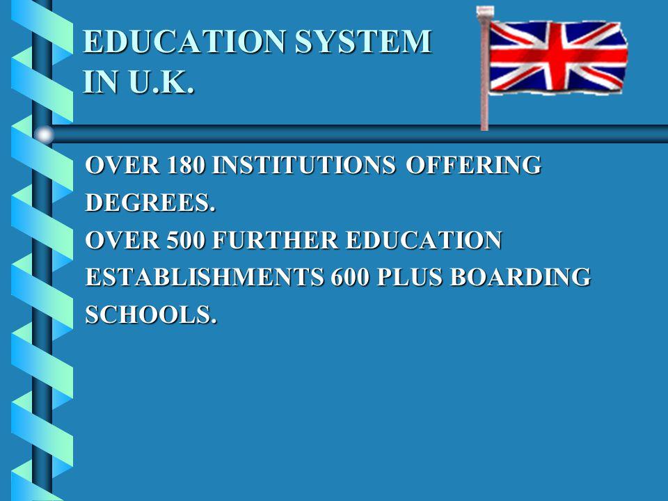 EDUCATION SYSTEM IN U.K. EDUCATION SYSTEM IN U.K.