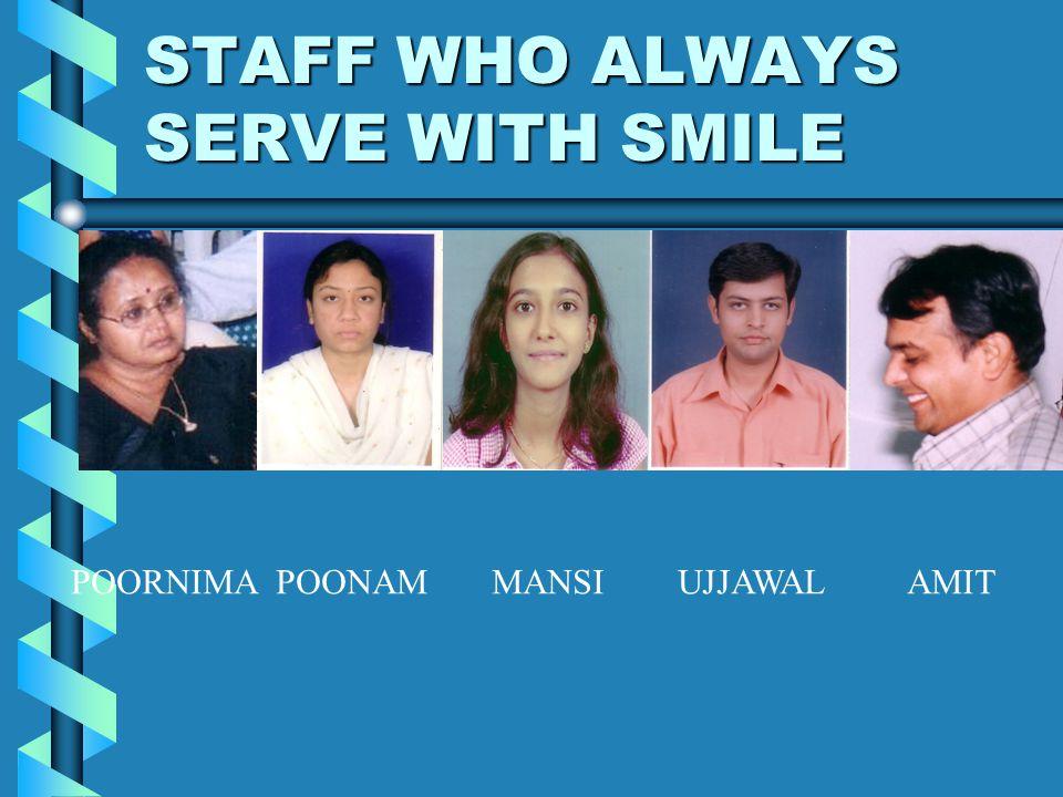 STAFF WHO ALWAYS SERVE WITH SMILE POORNIMA POONAM MANSI UJJAWAL AMIT