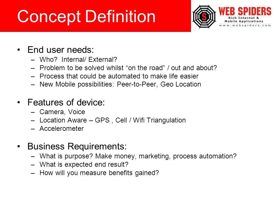 End user needs: –Who. Internal/ External.