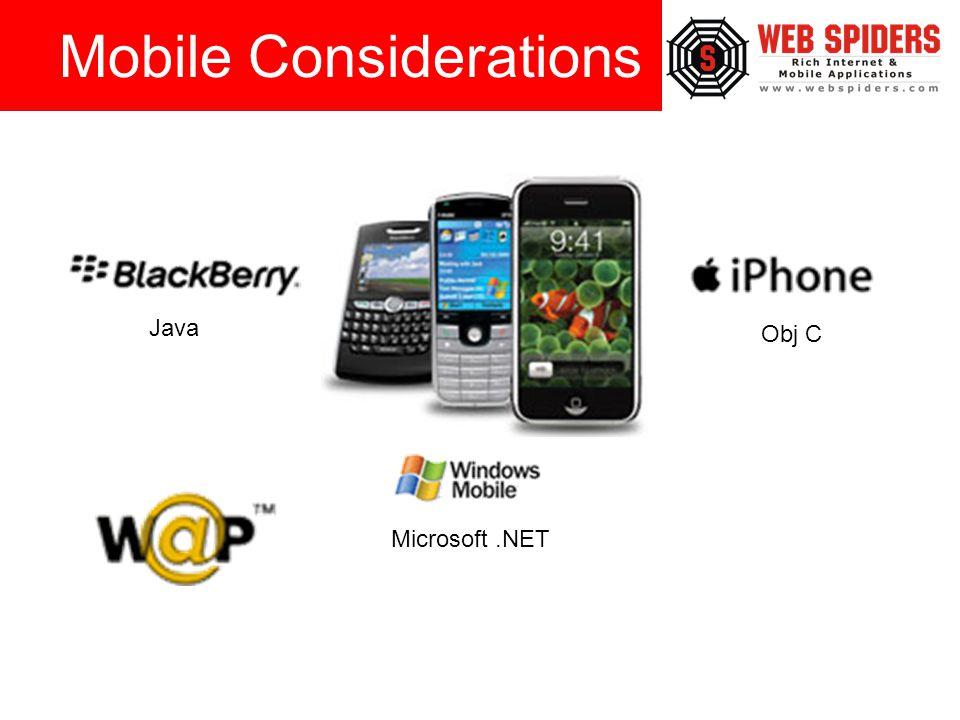 Mobile Considerations Java Obj C Microsoft.NET