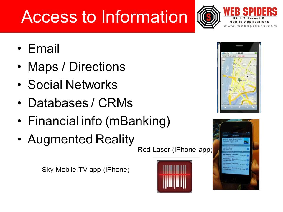 Email Maps / Directions Social Networks Databases / CRMs Financial info (mBanking) Augmented Reality Access to Information Red Laser (iPhone app) Sky