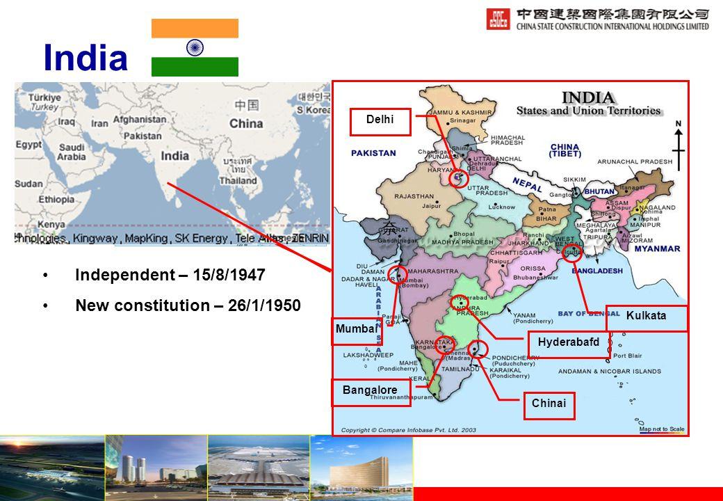 India Independent – 15/8/1947 New constitution – 26/1/1950 Delhi Mumbai Bangalore Chinai 奈 Hyderabafd Kulkata