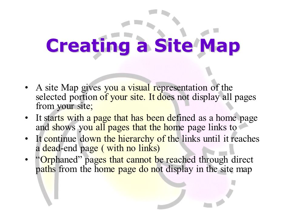 A site Map gives you a visual representation of the selected portion of your site. It does not display all pages from your site; It starts with a page