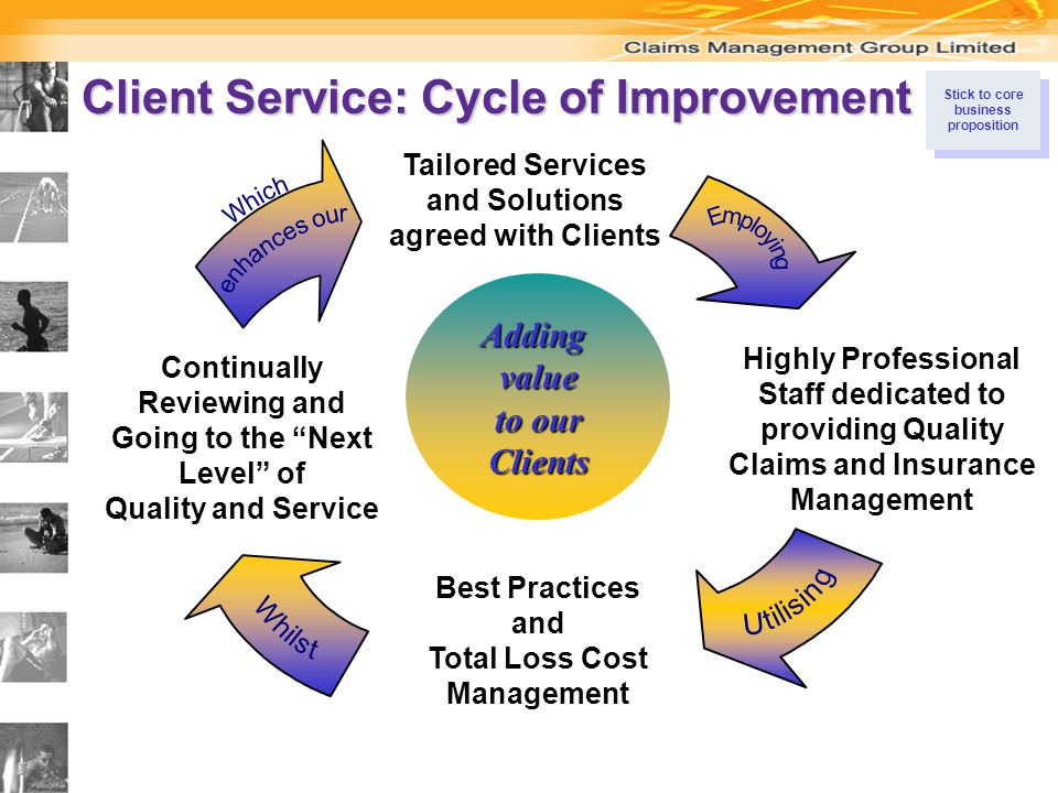 Client Service: Cycle of Improvement Addingvalue to our Clients Continually Reviewing and Going to the Next Level of Quality and Service Tailored Services and Solutions agreed with Clients Highly Professional Staff dedicated to providing Quality Claims and Insurance Management Best Practices and Total Loss Cost Management Stick to core business proposition