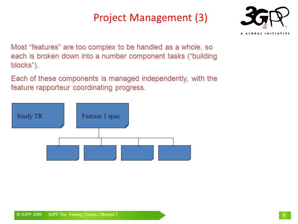 © 3GPP 2009 Mobile World Congress, Barcelona, 19 th February 2009© 3GPP 2009 3GPP The Training Course / Module 7 39 Active project management