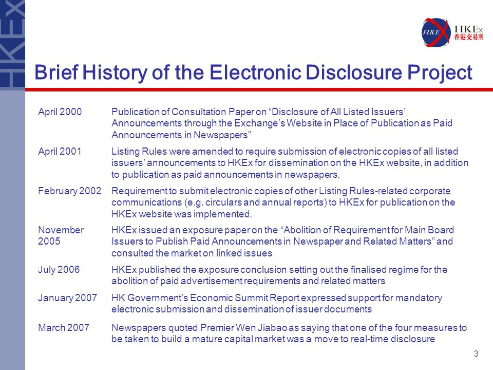 4 Electronic Disclosure - Market Impact Electronic Disclosure proposals in summary: –Abolish paid advertisements in newspapers –Mandate electronic submission –Provide straight-through processing –Require issuers to establish their own website by 25 June 2008 –Consequential changes to suspension policy Proposals effective from 25 June 2007 Transitional arrangements: –Until 24 December 2007 issuers to publish a notification in newspapers –Until 24 June 2008 issuers without their own website must continue to publish announcements in newspapers Communication, education and familiarisation