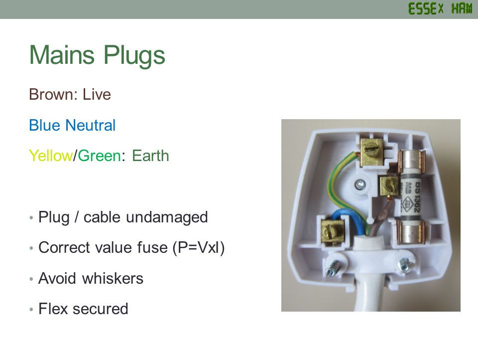 Mains Plugs Brown: Live Blue Neutral Yellow/Green: Earth Plug / cable undamaged Correct value fuse (P=VxI) Avoid whiskers Flex secured