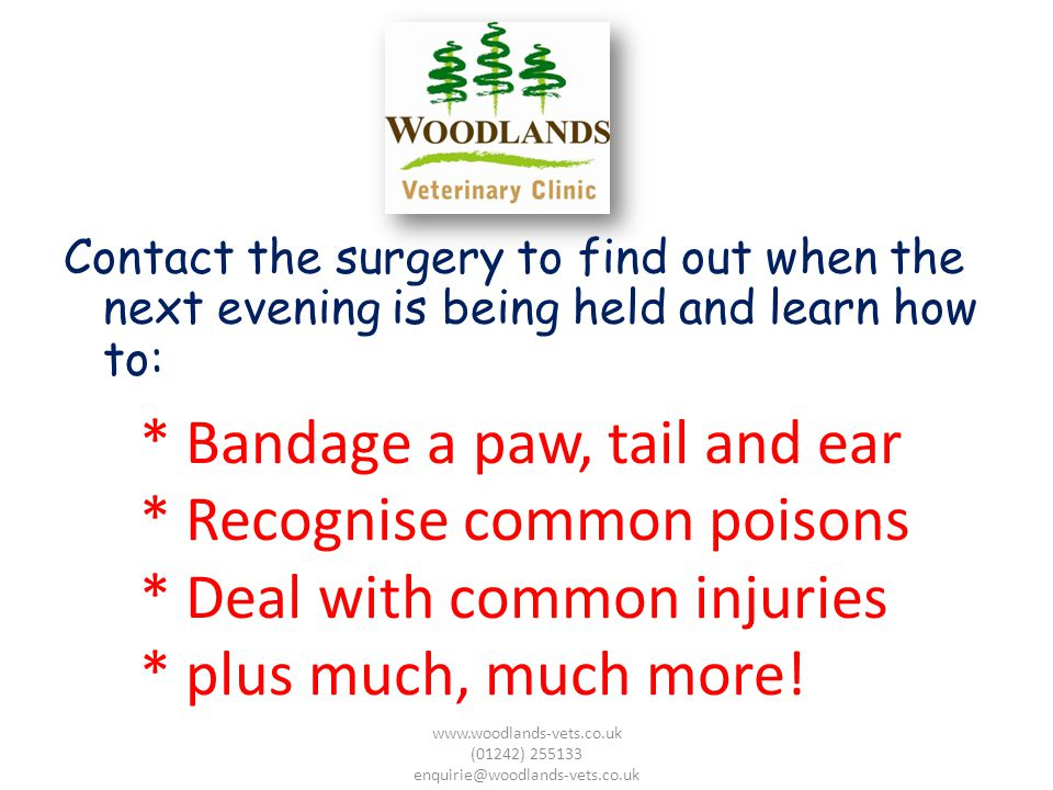 Contact the surgery to find out when the next evening is being held and learn how to: www.woodlands-vets.co.uk (01242) 255133 enquirie@woodlands-vets.co.uk * Bandage a paw, tail and ear * Recognise common poisons * Deal with common injuries * plus much, much more!