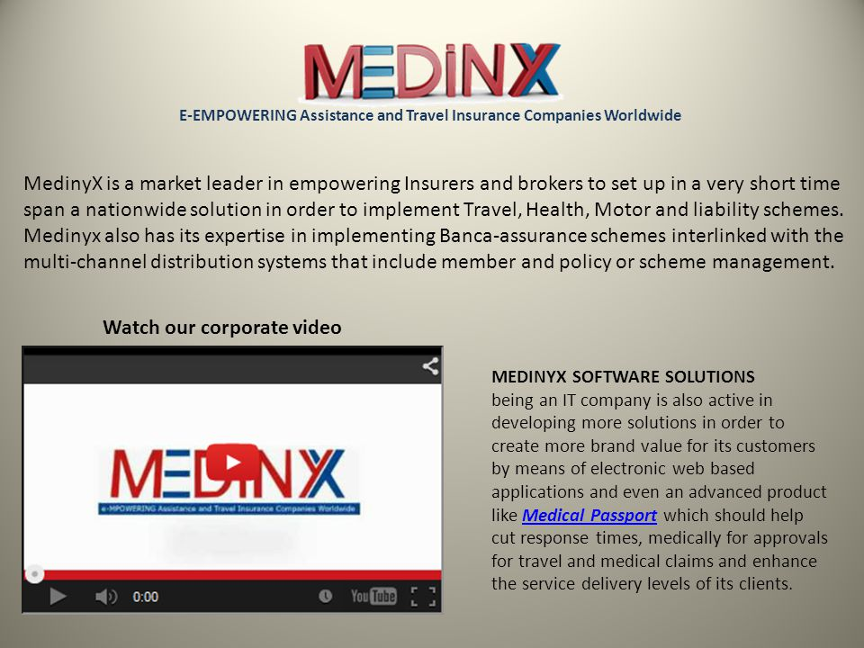 MedinyX is a market leader in empowering Insurers and brokers to set up in a very short time span a nationwide solution in order to implement Travel, Health, Motor and liability schemes.
