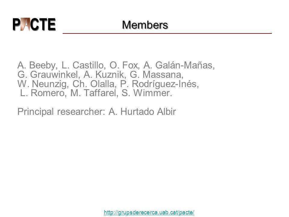 Members A.Beeby, L. Castillo, O. Fox, A. Galán-Mañas, G.