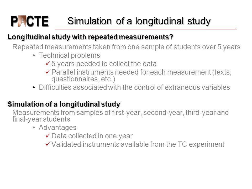 Simulation of a longitudinal study Longitudinal study with repeated measurements.