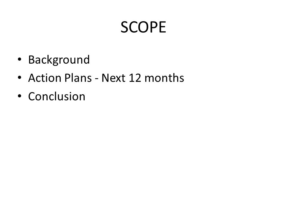 SCOPE Background Action Plans - Next 12 months Conclusion