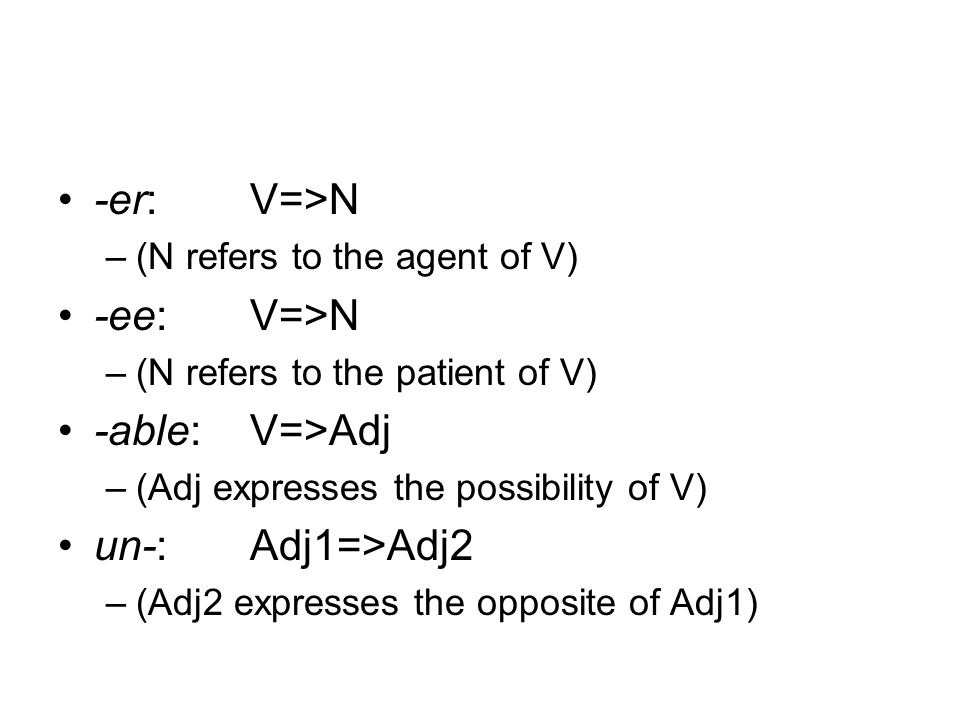 -er:V=>N –(N refers to the agent of V) -ee:V=>N –(N refers to the patient of V) -able:V=>Adj –(Adj expresses the possibility of V) un-:Adj1=>Adj2 –(Adj2 expresses the opposite of Adj1)