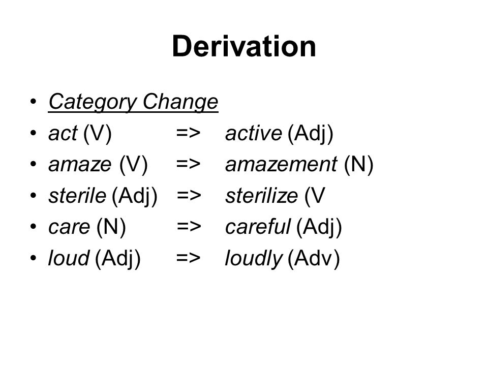 Derivation Category Change act (V)=>active (Adj) amaze (V) =>amazement (N) sterile (Adj)=>sterilize (V care (N) =>careful (Adj) loud (Adj)=>loudly (Adv)