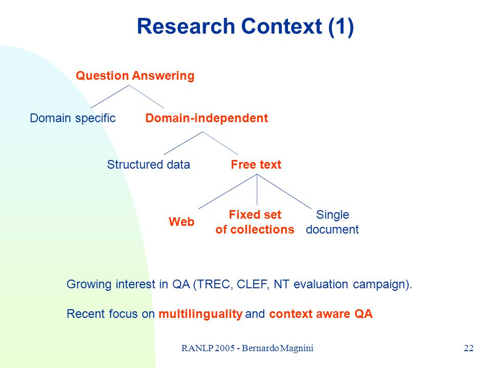 22RANLP 2005 - Bernardo Magnini Research Context (1) Question Answering Domain specificDomain-independent Structured dataFree text Web Fixed set of co
