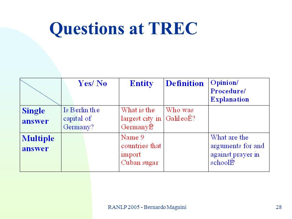 RANLP 2005 - Bernardo Magnini28 Questions at TREC