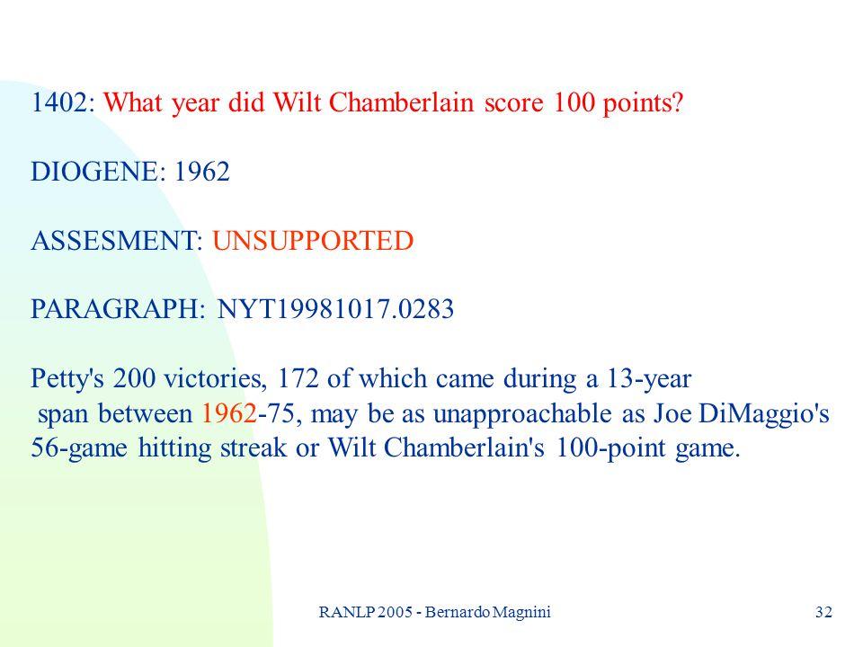 RANLP 2005 - Bernardo Magnini32 1402: What year did Wilt Chamberlain score 100 points.