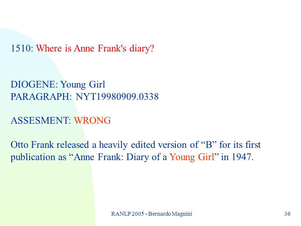 RANLP 2005 - Bernardo Magnini36 1510: Where is Anne Frank s diary.