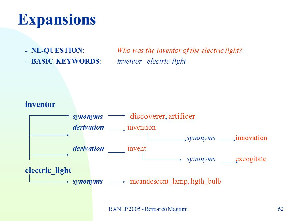 RANLP 2005 - Bernardo Magnini62 Expansions - NL-QUESTION: Who was the inventor of the electric light? - BASIC-KEYWORDS: inventor electric-light invent