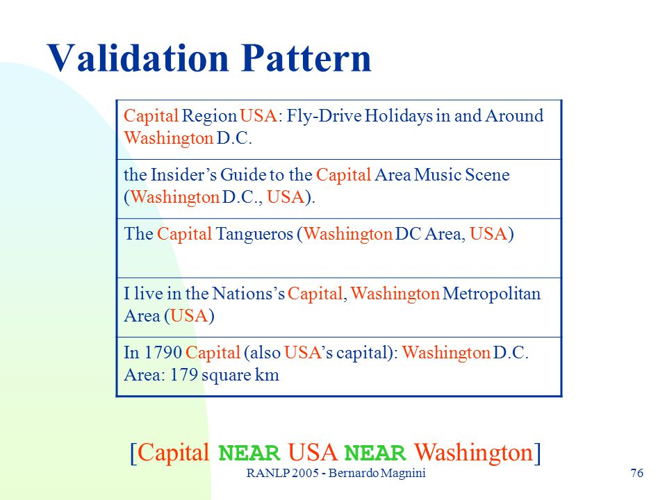 RANLP 2005 - Bernardo Magnini76 Validation Pattern Capital Region USA: Fly-Drive Holidays in and Around Washington D.C. the Insider's Guide to the Cap