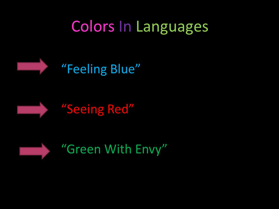 Colors In Languages Feeling Blue Seeing Red Green With Envy