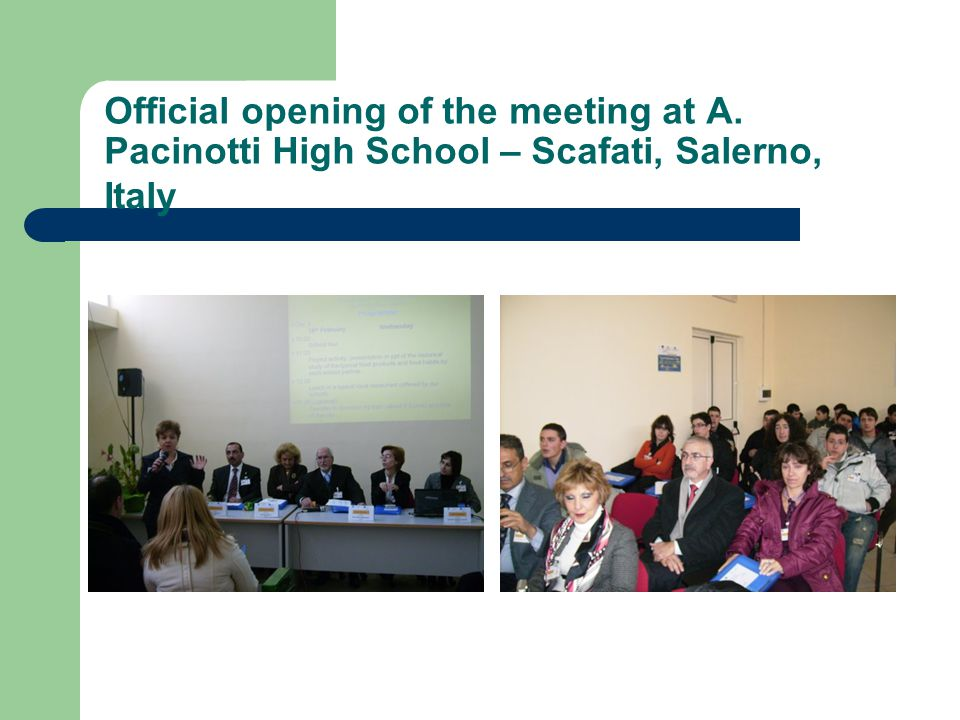 Official opening of the meeting at A. Pacinotti High School – Scafati, Salerno, Italy