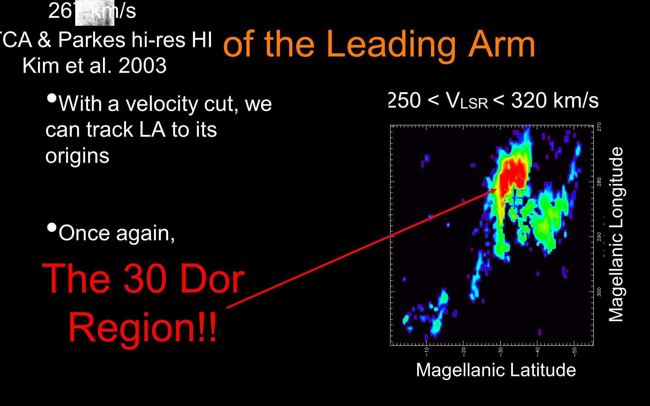 Origin of the Leading Arm With a velocity cut, we can track LA to its origins Once again, 250 < V LSR < 320 km/s The 30 Dor Region!.