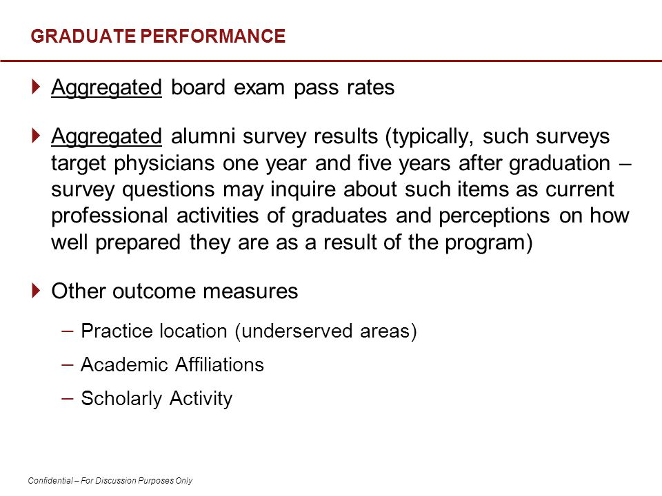 Confidential – For Discussion Purposes Only GRADUATE PERFORMANCE  Aggregated board exam pass rates  Aggregated alumni survey results (typically, such surveys target physicians one year and five years after graduation – survey questions may inquire about such items as current professional activities of graduates and perceptions on how well prepared they are as a result of the program)  Other outcome measures − Practice location (underserved areas) − Academic Affiliations − Scholarly Activity